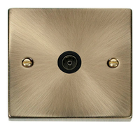 Click Deco Victorian Antique Brass with Black Insert Single Coaxial Socket | LV0101.0025