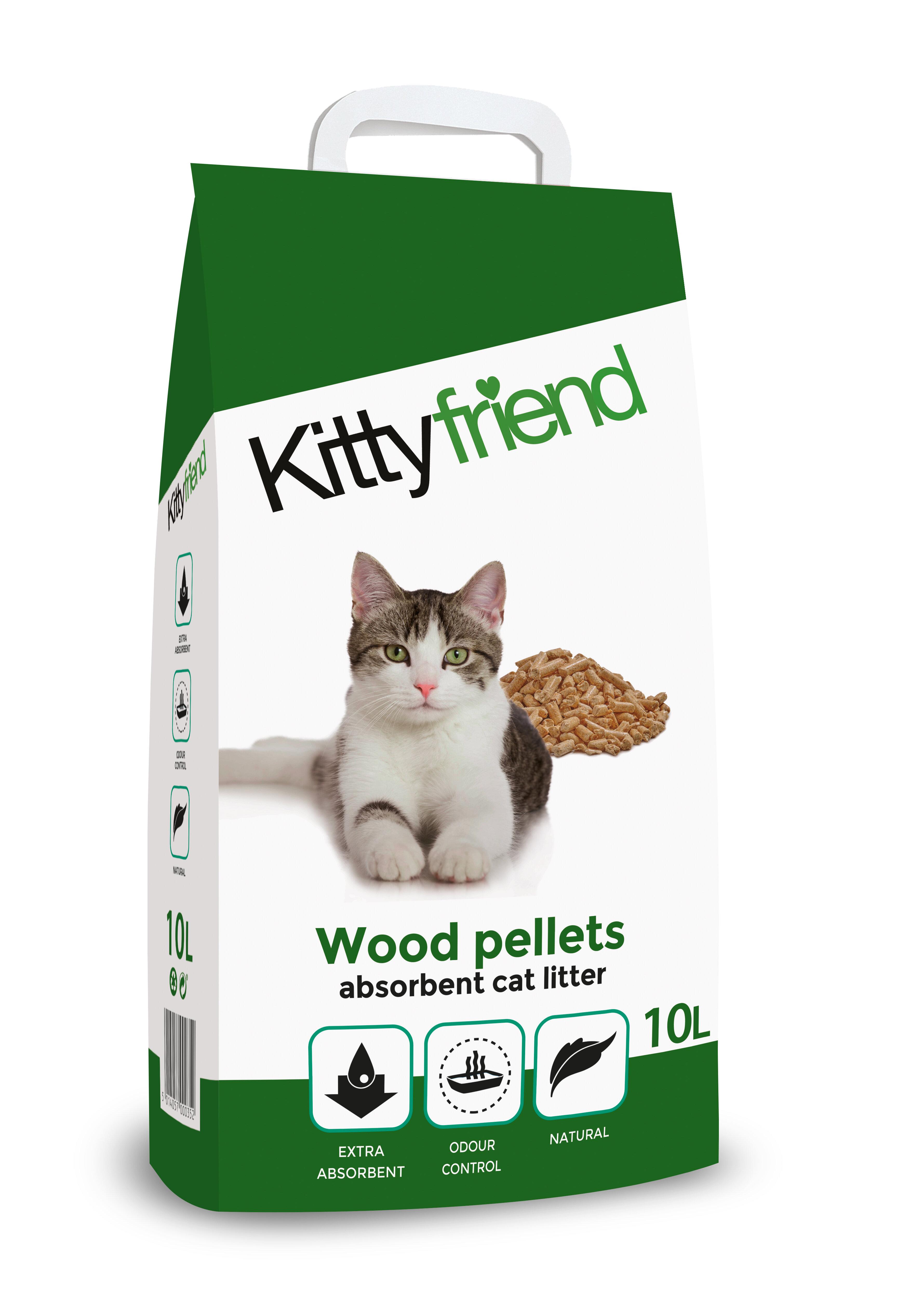 Kitty Friend Wood Pellets Cat Litter 10L