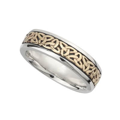 LADIES SILVER & GOLD TRINITY KNOT RING(BOXED)