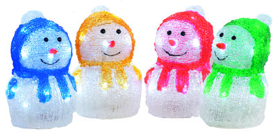 17cm Assorted LED Acrylic Snowmen