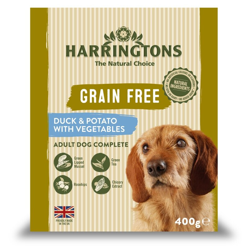 Harringtons Wet Duck & Potato Dog Food Trays 8 x 400g