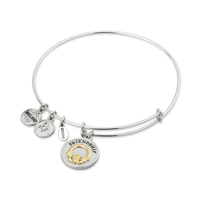 SILVER & GP CLADDAGH EXPANDING BANGLE(BOXED)