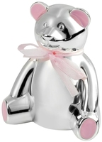 Silver Plated Teddy Bear Money Box (Pink) | T