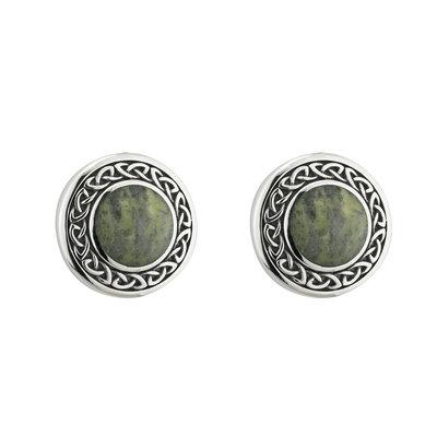 sterling silver celtic connemara marble round stud earrings s33773 from Solvar