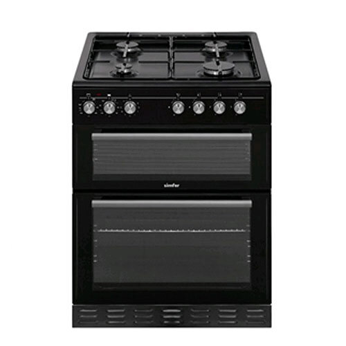 Simfer 60cm Dual Fuel Black Cooker -Double Electric Oven & Grill with LPG Gas Hob - Black
