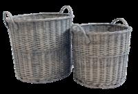 Grey Wicker Rnd Basket Set Of 2