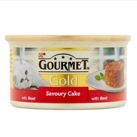 Gourmet Gold Cat Can Savoury Beef Cake 85g x 12