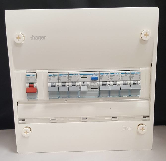 Hager 1 Row Consumer Unit with 63A MCB on