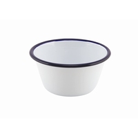 Round Deep Pie Dish Enamel White With Blue Edge 12cm