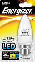 ENERGIZER LED 6.2W (40W) 470 LUMEN B22 CLEAR DIMMABLE CANDLE LAMP WARM WHITE