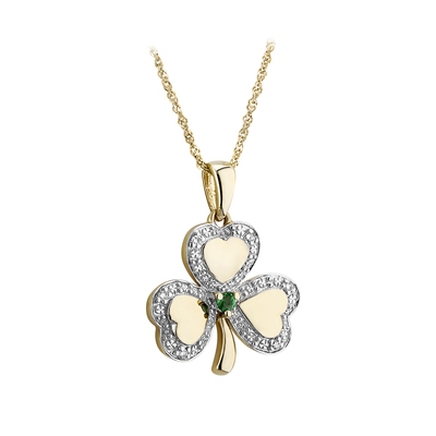 14K DIAMOND & EMERALD SHAMROCK PENDANT(BOXED)