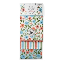 Country  Floral 3 Pack Tea Towel