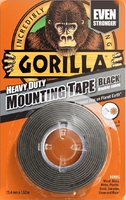 GORILLA DOUBLE SIDED MOUNTING TAPE BLK 1.5Mtr