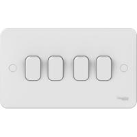 Schneider LWM 4 gang 2 way 10AX plate switch