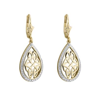 10K DIAMOND OVAL CELTIC DROP EARRINGS