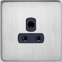 DETA Screwless 1 Gang 5 Amp Socket Satin Chrome Black Insert | LV0201.0434