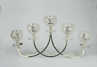 Candelabra 5 Clear Crystal Table Centerpiece Silver Plated Candle holder