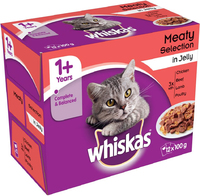 Whiskas Pouches - 1+ Meat Selection in Jelly 100g 12-Pack x 4