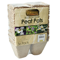 "Kingfisher 36 Pack 8cm(3"") Biodegradable Square Peat Pots (PPOTSS)"