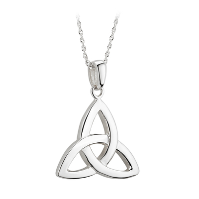 14K WHITE MEDIUM TRINITY KNOT PENDANT