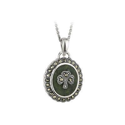 sterling silver connemara marble marcasite shamrock pendant s44877 from Solvar