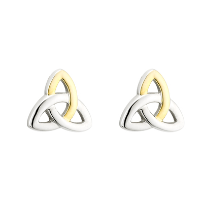 TWO TONE PLATED TRINITY KNOT STUD EARRINGS