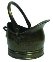 Antique Brass Coal Hod W/Floral Motive