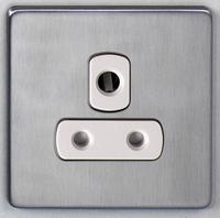 DETA Screwless 1 Gang 5 Amp Socket Satin Chrome White Insert | LV0201.0072