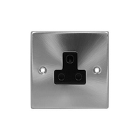 Click Litehouse DECO 5A Unswitched Socket Black Insert Satin Chrome