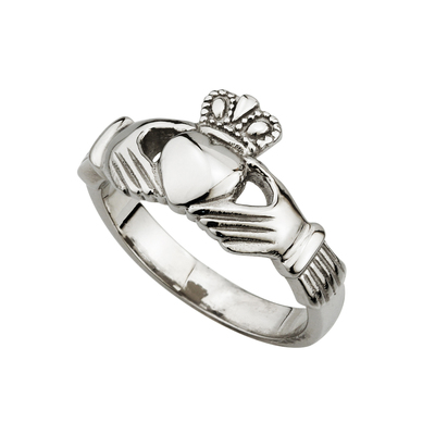 STEEL LADIES ENGRAVED CLADDAGH RING
