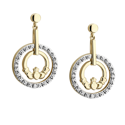 14K DIAMOND CLADDAGH CIRCLE EARRINGS(BOXED)