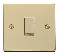 Click Deco Victorian Polished Brass with White Insert 1Gang 2 Way 'Ingot' Switch | LV0101.0148