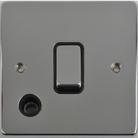 Schneider Ultimate Low Profile 20Amp Double Pole switch with flex outlet Polished Chrome with Black Insert   LV0701.0239