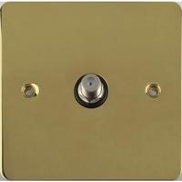 Flat Plate Polished Brass SAT Socket Black|LV0701.0571