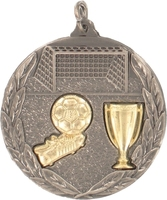 50mm Silver Relief Soccer Medal