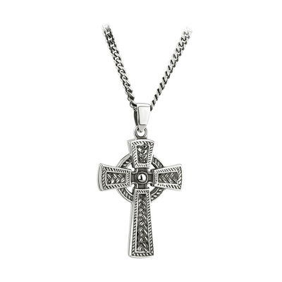 SILVER OXIDISED CELTIC CROSS PENDANT (BOXED)