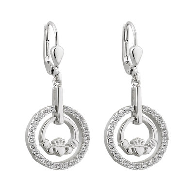 S/S CLADDAGH ROUND DROP EARRINGS(BOXED)