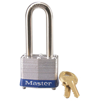 Master Lock Blue laminated steel safety padlock, 40mm wide with 51mm tall shackle, keyed alike