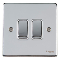 Schneider Ultimate Low Profile 2gang switch Polished Chrome with White Insert | LV0701.0038