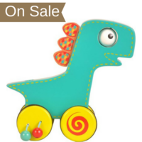 Wooden toddler dinosaur push and roll toy - in packaging