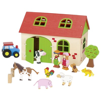 Wooden toy farmhouse with animals, farmer, tractor and other accessories