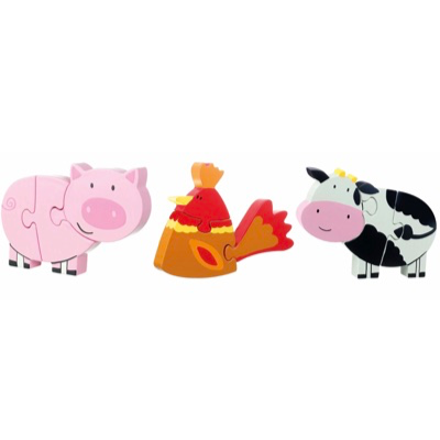Farm Animals Puzzle Set - pig, chicken, and cow