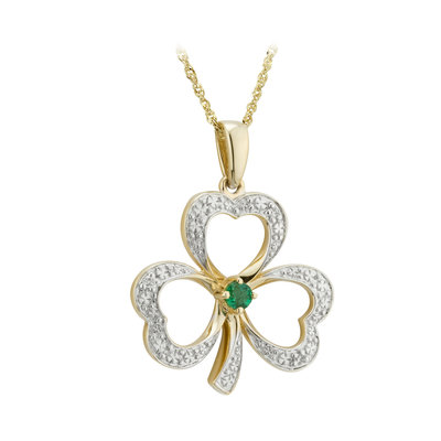 14k gold diamond and emerald shamrock necklace s46104 from Solvar