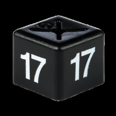 SHOPWORX CUBEX 'Size 17' Size cubes - White on Black (Pack 50)