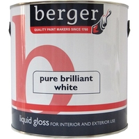 BERGER LIQUID GLOSS PAINT BRILLIANT WHITE 2.5 LTR