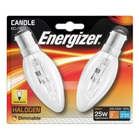 ENERGIZER ECO HALOGEN 20W (25W) B15 CLEAR CANDLE LAMP CARD 2