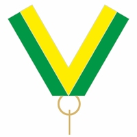 10mm Medal Ribbon with Clip (Green & Yellow)