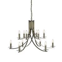 Ascona Antique Brass 12 Light Fitting With Clear Glass Sconces