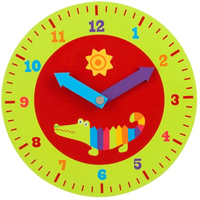 Wooden crocodile-themed teaching clock for kids