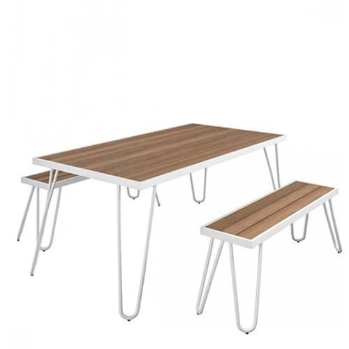 Paulette Outdoor Table and Bench Set (White) 1